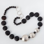 Sterling Silver, Onyx and Larva Beads